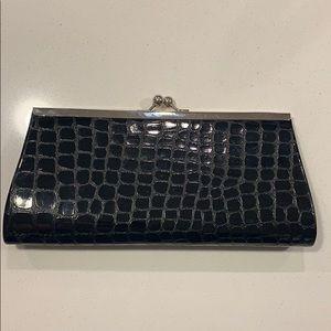 Black croc-embossed clutch